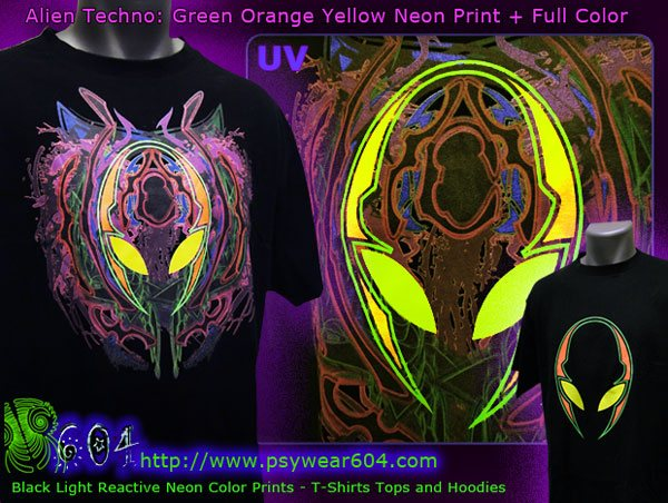 Alien techno psytrance clothing, t-shirts and hoodies with black-light reactive neon colors