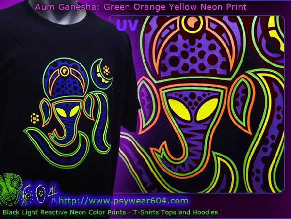 Aum ganesha psychedelic t-shirts and hoodies with black-light reactive neon colors