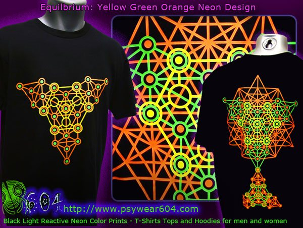Equilibrium techno t-shirts and hoodies with black-light reactive neon colors