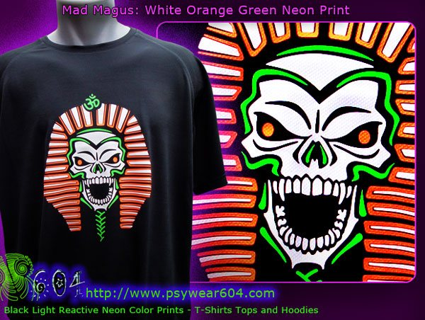 Mad magus psytrance and techno t-shirts and hoodies with black-light reactive neon colors