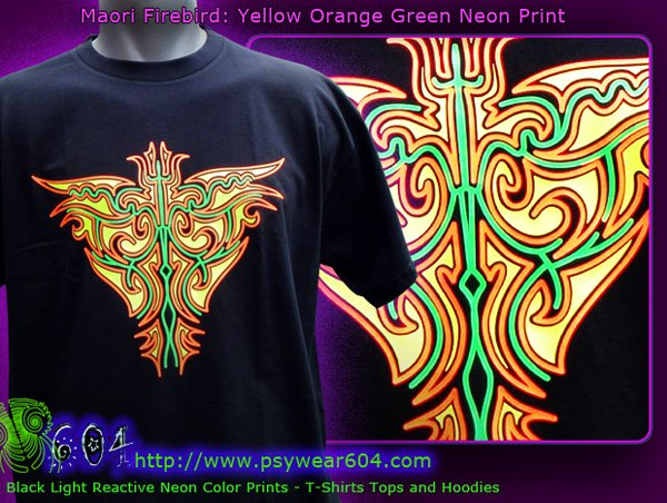 Maori firebird psytrance clothing, t-shirts and hoodies with black-light reactive neon colors