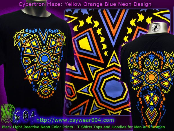 Tribal sun psychedelic clothing, t-shirts and hoodies with black-light reactive neon colors