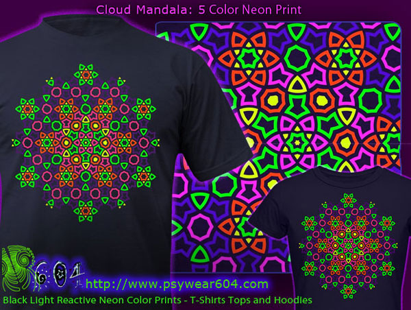 Cloud mandala psy t-shirts and hoodies with black-light reactive neon colors