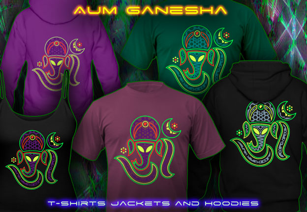 Aum Ganesha T-Shirts and Hoodies with black-light re-active neon color print
