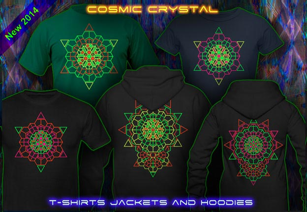 Cosmic Crystal T-Shirts and Hoodies with a black-light re-active neon color print