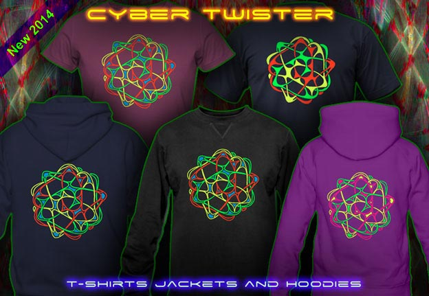 Cyber Twister T-Shirts and Hoodies with a black-light re-active neon color print