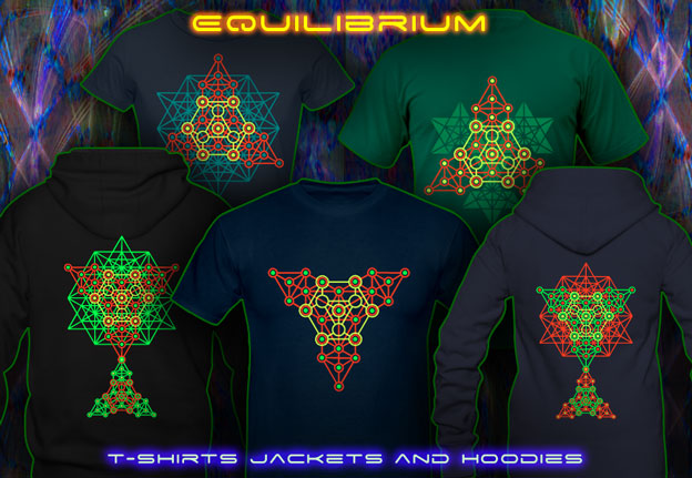 Equilibrium T-Shirts and Hoodies with blacklight re-active neon color print