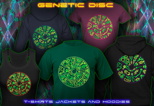 Genetic Disc T-Shirts and Hoodies with blacklight re-active neon color print