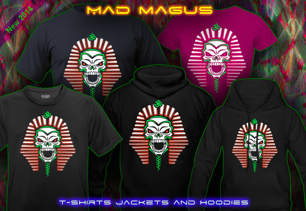 Mad Magus T-Shirts and Hoodies with a black-light re-active neon color print