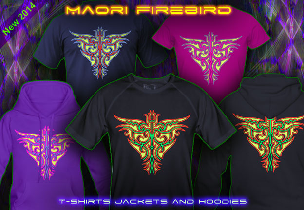 Maori Firebird T-Shirts and Hoodies with a black-light re-active neon color print