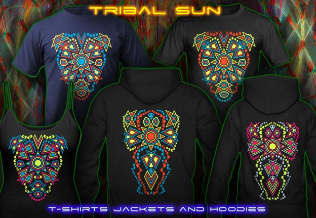 Tribal Sun T-Shirts and Hoodies with black-light re-active 2-side neon color print