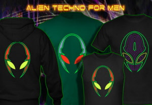 Alien techno, psy trance goa t-shirts jackets hoodies with blacklight reactive neon color print for men