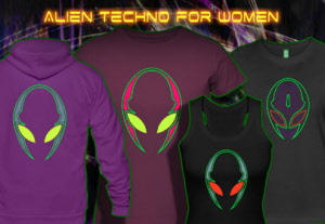 Alien techno: psywear t-shirts jackets and hoodies with a black light reactive neon color print for women