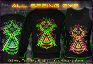 All Seeing Eye, T-Shirts Hooded Jackets and Hoodies with a blacklight re-active neon color