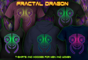 Fractal Dragon: T-Shirts and Hoodies with uv black-light reactive neon-color print