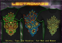 Psywear-604 Lectromaze:  Psytrance and Techno T-Shirts Hooded Jackets and Hoodies with a blacklight re-active neon color