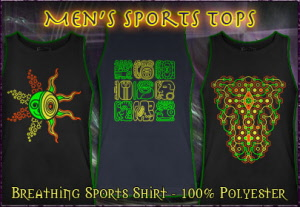 Mens sportshirt with black light reactive neon colors