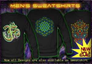 Mens sweatshirts with black light reactive neon color print