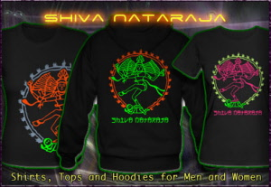Shiva Nataraja T-Shirts Hooded Jackets and Hoodies with black light re-active neon color