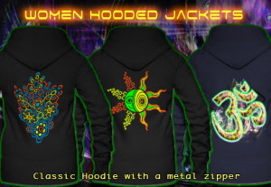 Hooded jacket for women with black-light neon colors