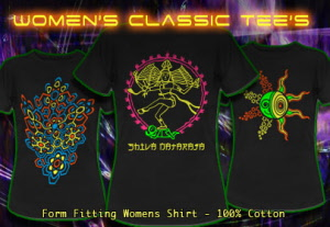 Womens t-shirts with blacklight neon colour print