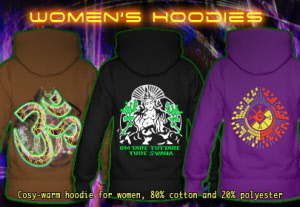 Womens Hoodies with black-light neon color print