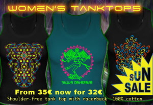 Womens Tanktops with a black-light reactive neon color print