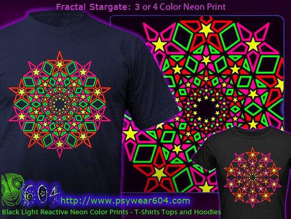 Fractal Stargate psychedelic t-shirts and hoodies with black-light reactive neon colors