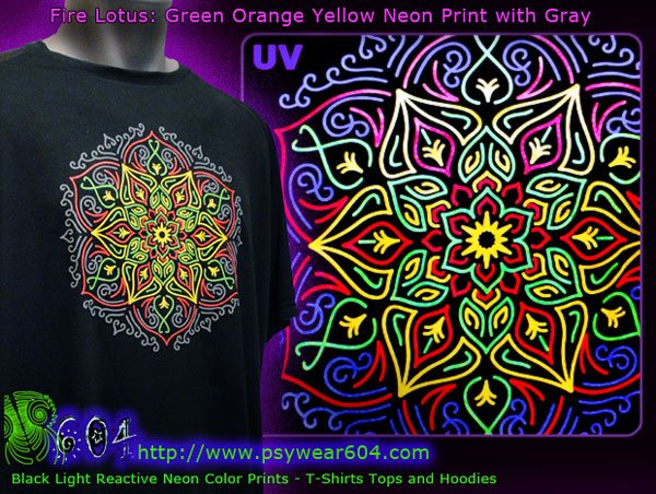 Lotus mandala psychedelic t-shirts and hoodies with black-light reactive neon colors
