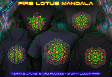 Lotus Mandala: t-shirts jackets and hoodies with a black light reactive neon color print