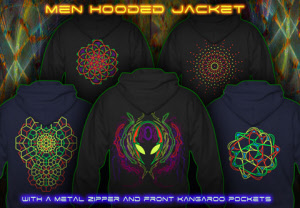 Men hooded jackets with black-light neon color print