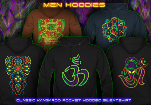 Psytrance hoodies for men with uv black light neon colors