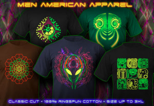 psywear men tees with a blacklight neon color print