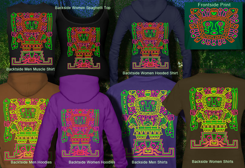viracocha tiki duplex printed blacklight t-shirts and hoodies