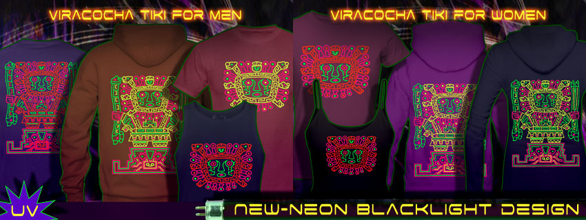 viracocha tiki duplex print t-shirts and hoodies
