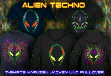 Alien Techno | Psy T-Shirts und Kapuzenpullover mit Schwarzlicht Neon Farben Druck