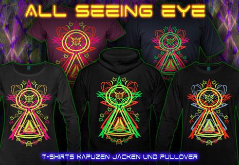 All Seeing Eye T-Shirts und Kapuzenpullover mit Schwarzlicht Neon Farbdruck
