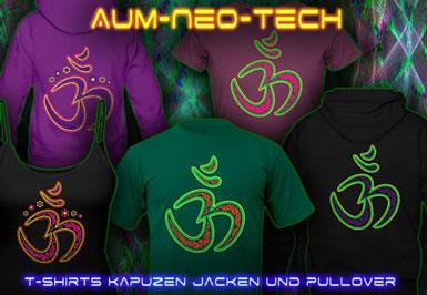 Leuchtfarben Kleidung | Aum Neo Tech T-Shirts und Kapuzenpullover mit Schwarzlicht Neon Farbdruck