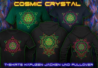 Leuchtfarben Kleidung | Cosmic Crystal T-Shirts und Kapuzenpullover mit Schwarzlicht Neon Farben Druck