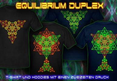 Equilibrium Duplex Druck T-Shirts und Kapuzenpullover mit Schwarzlicht Neon Farben Druck
