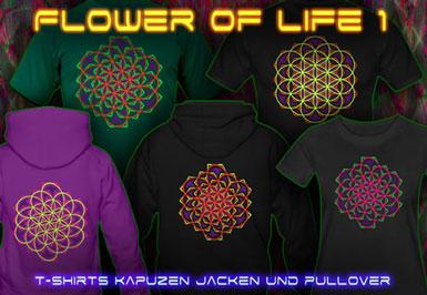Flower of LIfe T-Shirts und Kapuzenpullover mit Schwarzlicht Neon Farbdruck