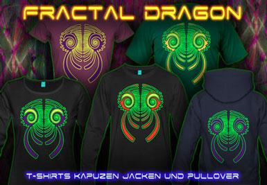 Fractal Dragon T-Shirts und Kapuzenpullover mit Schwarzlicht Neon Farbdruck