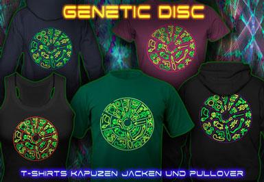 Genetic Disc | Schwarzlicht T-Shirts und Kapuzenpullover mit Schwarzlicht Neon Farbdruck