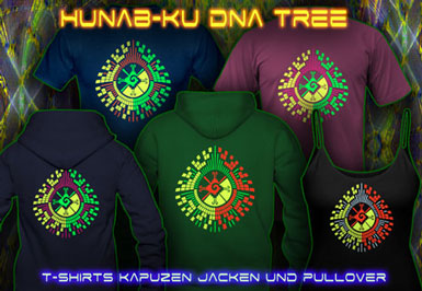 Hunab Ku T-shirts et vestes à capuches avec une lumière noire réactive impression couleur de néon