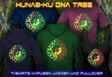 Hunab Ku T-Shirts and hoodies with a black-light reactive neon color print