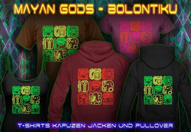 Bolontiku Tiki T-Shirts und Kapuzenpullover mit Schwarzlicht Neon Farben Druck