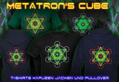 Metatron Cube T-Shirts und Kapuzenpullover mit Schwarzlicht Neon Farbdruck