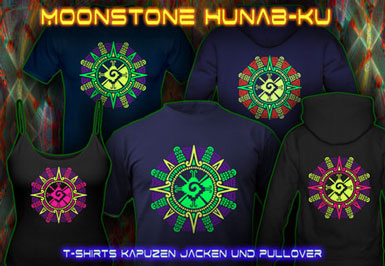 Moonstone T-Shirts and hoodies with a black-light reactive neon color print
