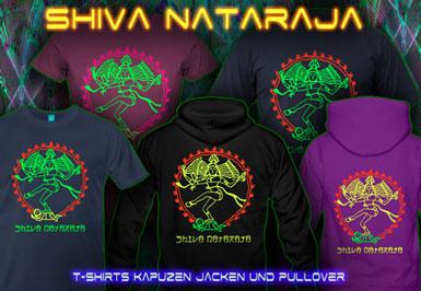 Shiva Nataraja T-Shirts und Kapuzenpullover mit Schwarzlicht Neon Farbdruck