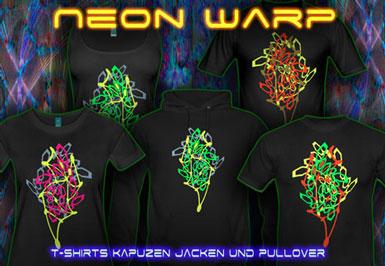 Neon Warp T-Shirts und Kapuzenpullover mit Schwarzlicht Neon Farben Druck